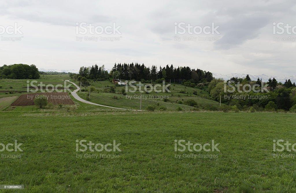 Springtime landscape in Plana mountain stock photo