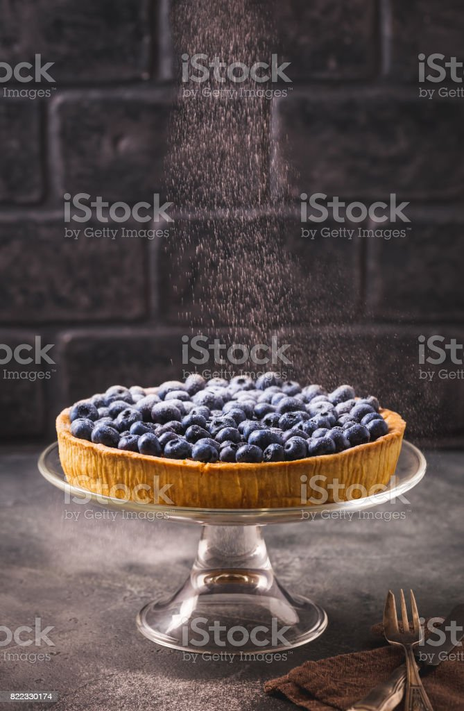 Sprinkle blueberry tart with icing sugar стоковое фото