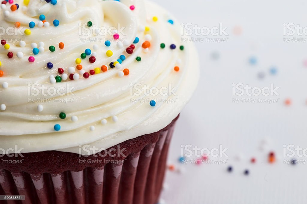 Sprinkle Cupcake Close Up stock photo