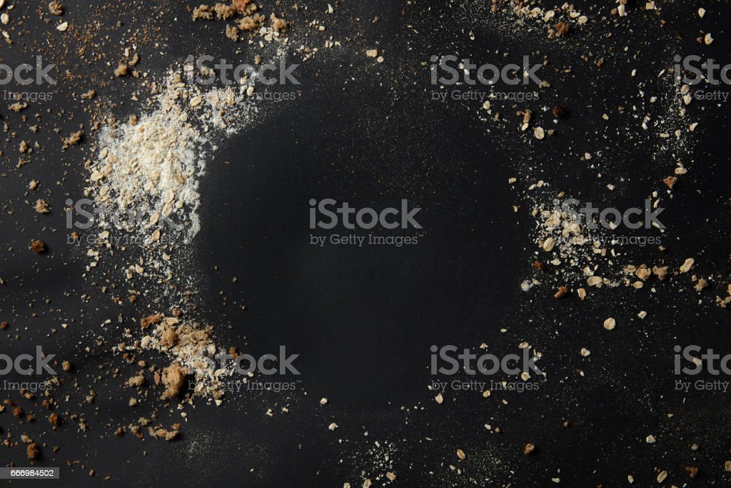 Sprinkled flour over background stock photo
