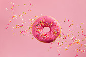 Sprinkled Pink Donut