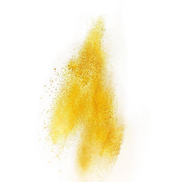 Sprinkled yellow powder stock photo