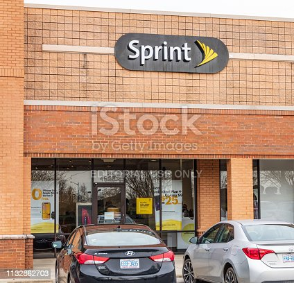 Hickory, NC, USA-2/28/19: A local Sprint retail store, an American telecommunications company, the fourth largest network operator in the US.