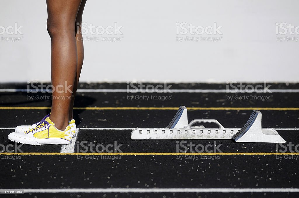 Sprinter and starting blocks. royalty-free stock photo
