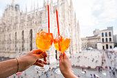 Spritz aperol drink in Milan