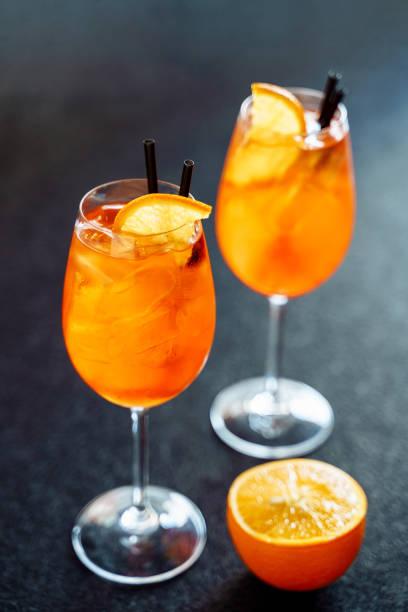 Spritz Sweet Cocktail Drink with Orange Ice stock photo