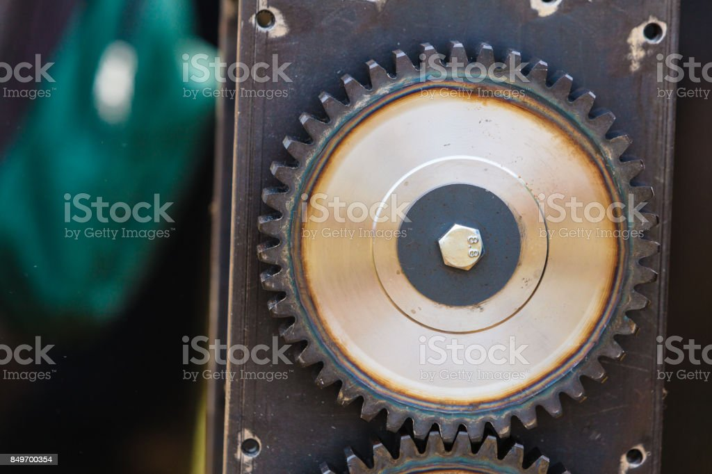 Sprocket gear made of steel, industrial object stock photo