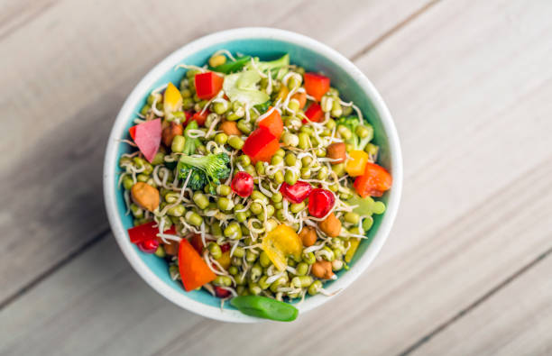 Sprouted Lentil Salad Sprouted Lentil salad served in a bowl for lunch bean sprout stock pictures, royalty-free photos & images