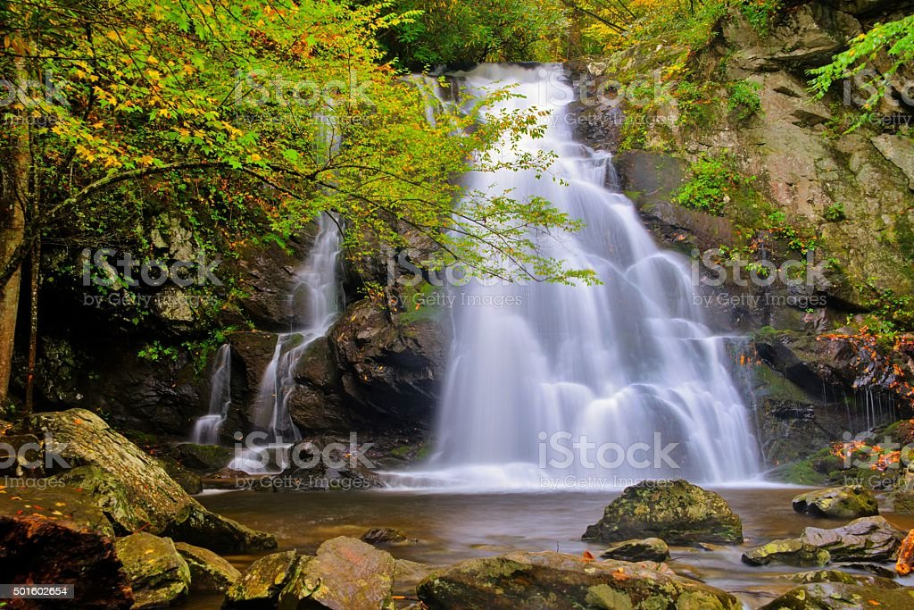 Spruce Flat Falls in Great Smoky Mountains National Park stock photo
