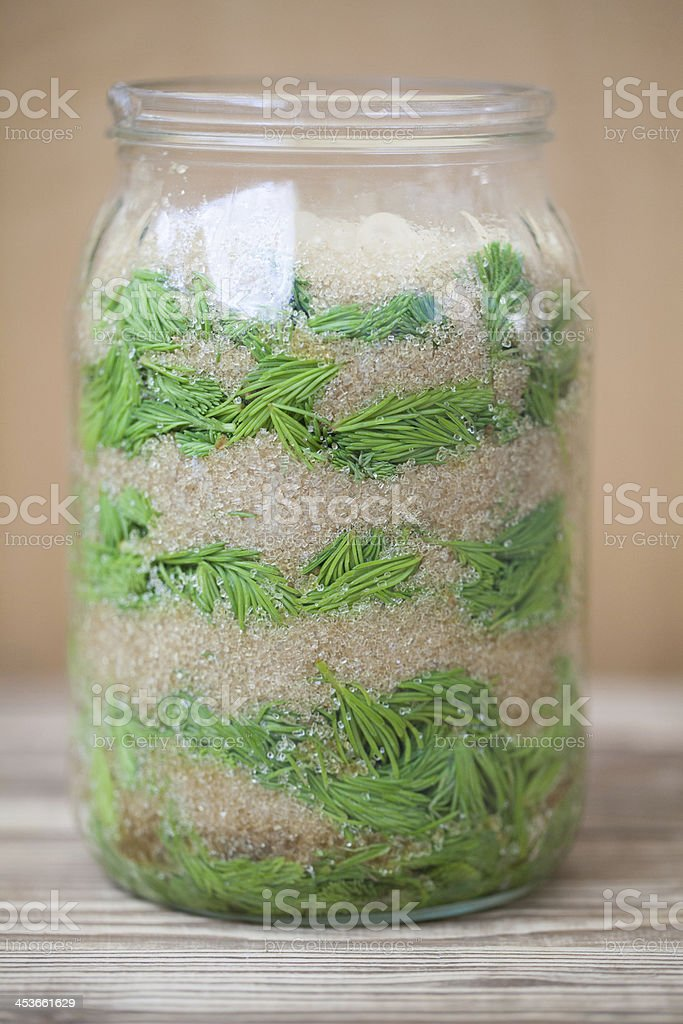 Spruce sprouts syrup - making of royalty-free stock photo