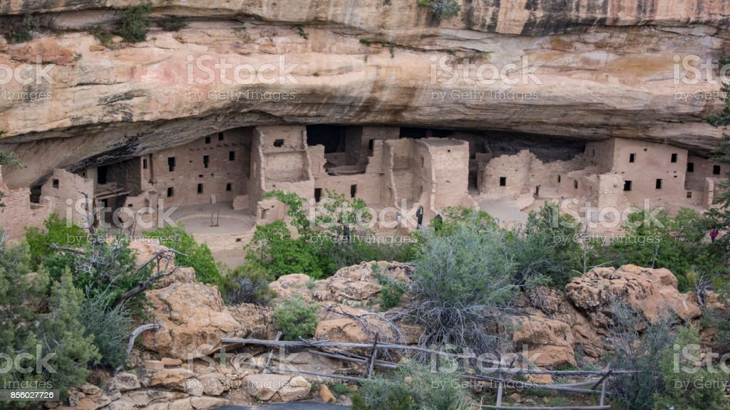 Spruce Tree House, Mesa Verde's third largest and best preserved cliff dwelling. stock photo