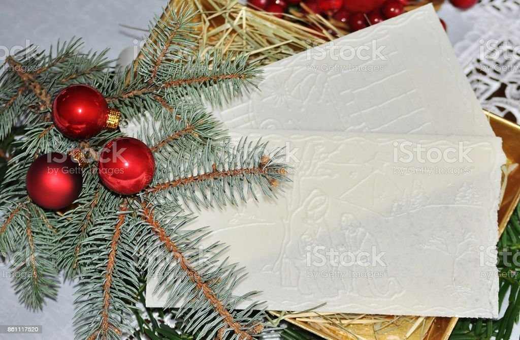 Spruce Twig Christmas Ornaments And White Wafer On Hay Oplatek Stock Photo Download Image Now Istock