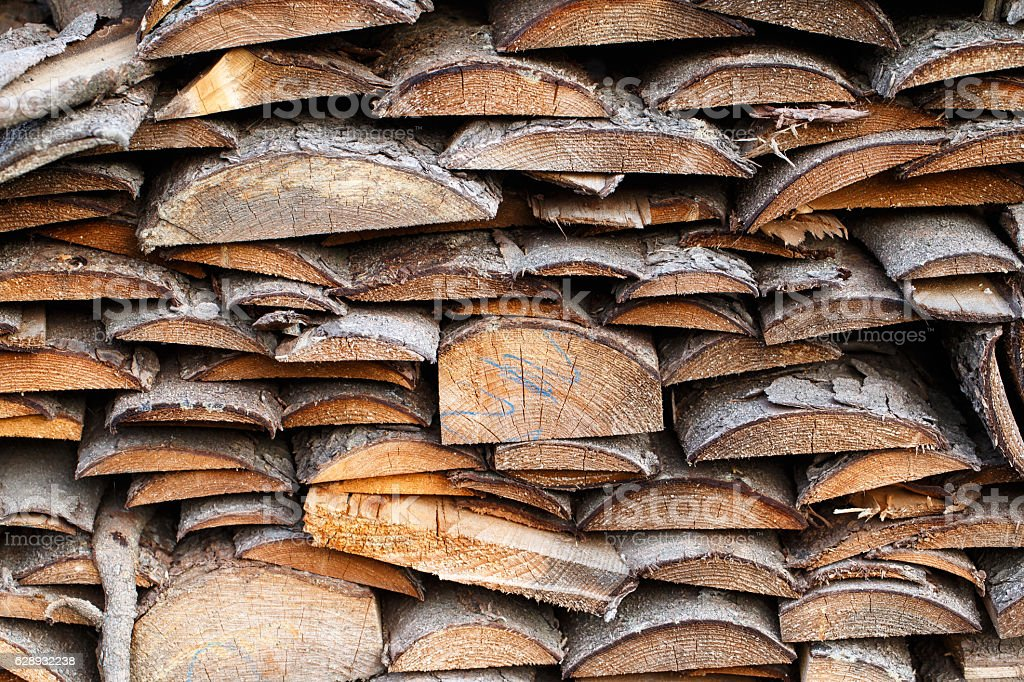 Spruce wood in the background. Firewood stack. stock photo