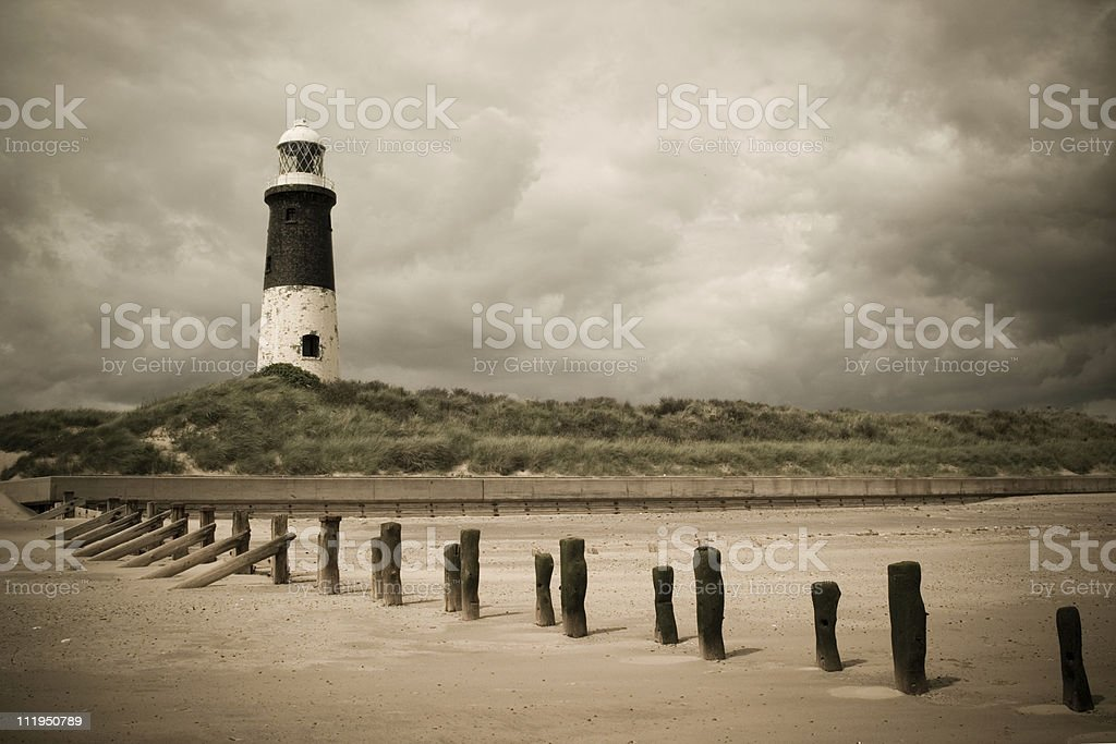 Spurn Head lighthouse toned stock photo