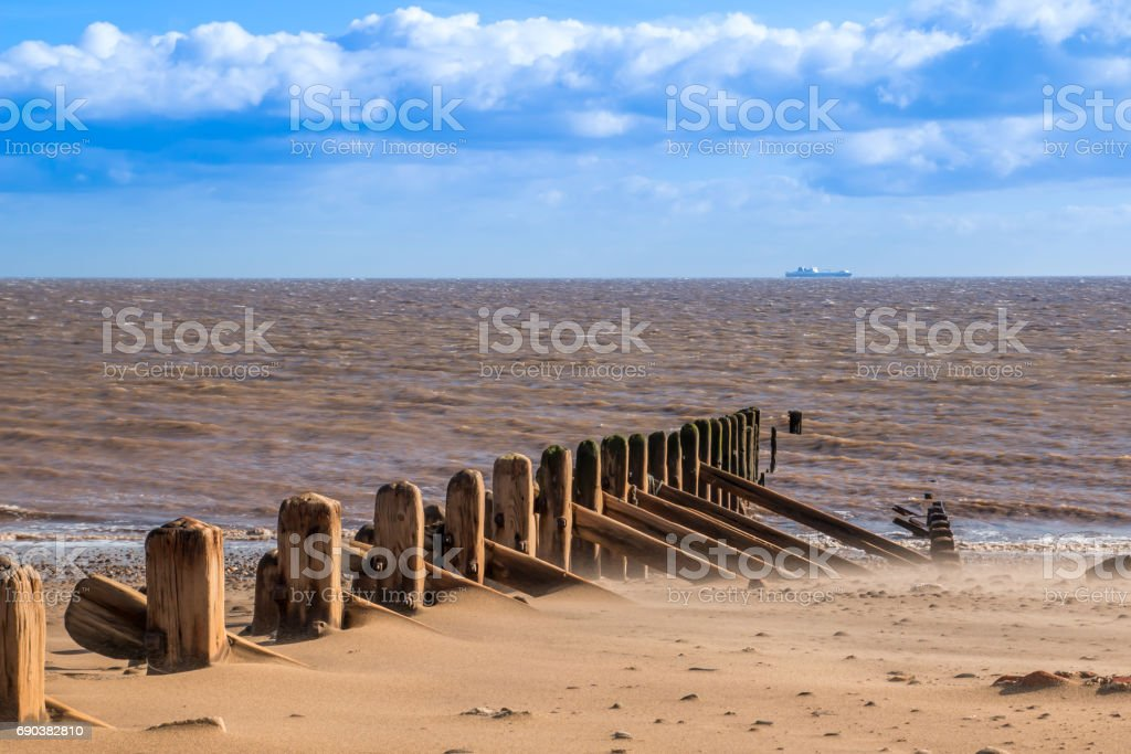 Spurn Head Point beech and North Sea stock photo