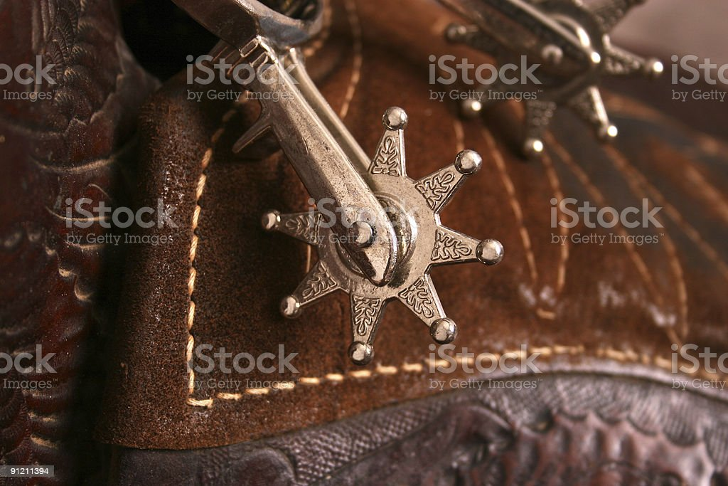 Spurs with Saddle background stock photo