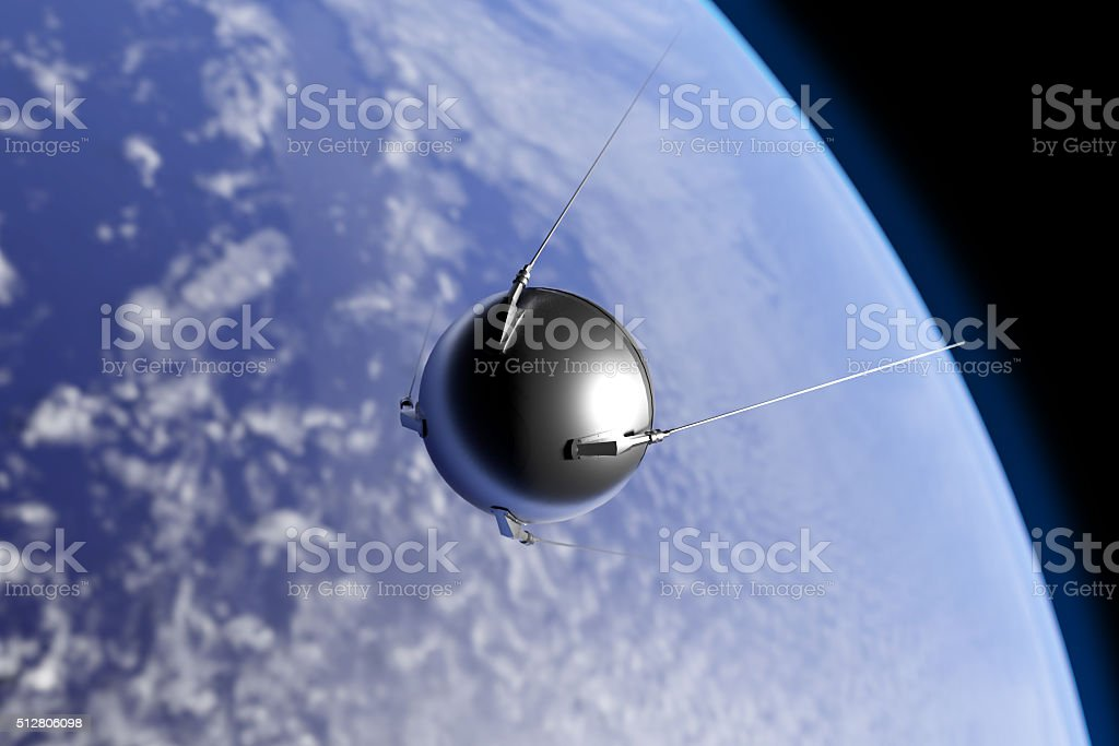 Sputnik Orbiting Earth stock photo