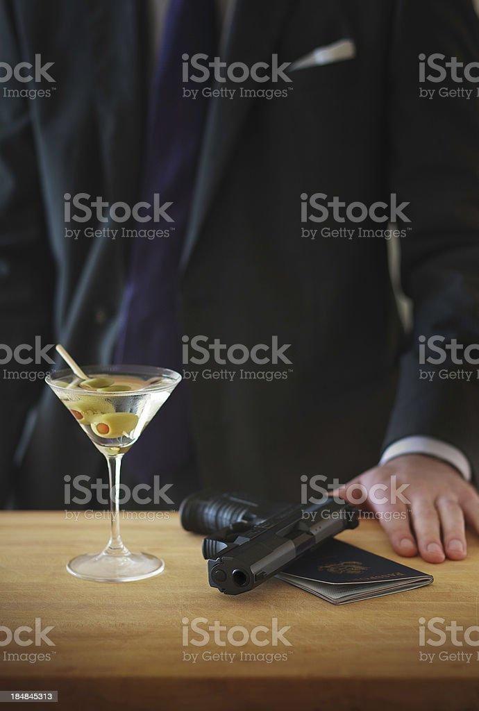 Spy at the Bar stock photo