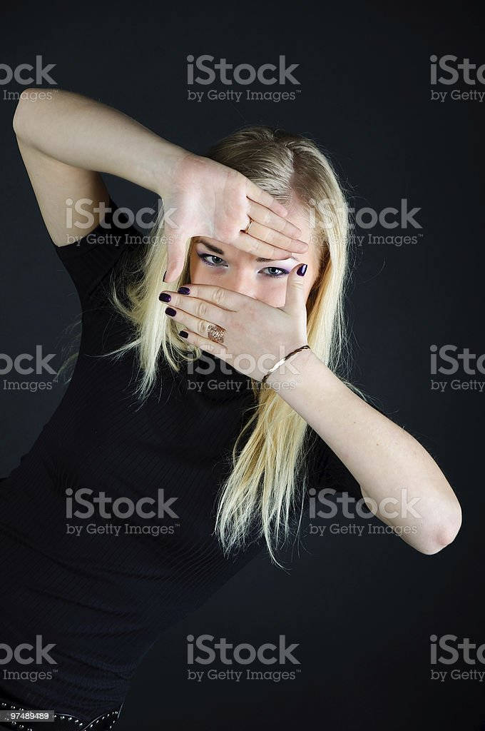 spy girl. Gesture hands royalty-free stock photo