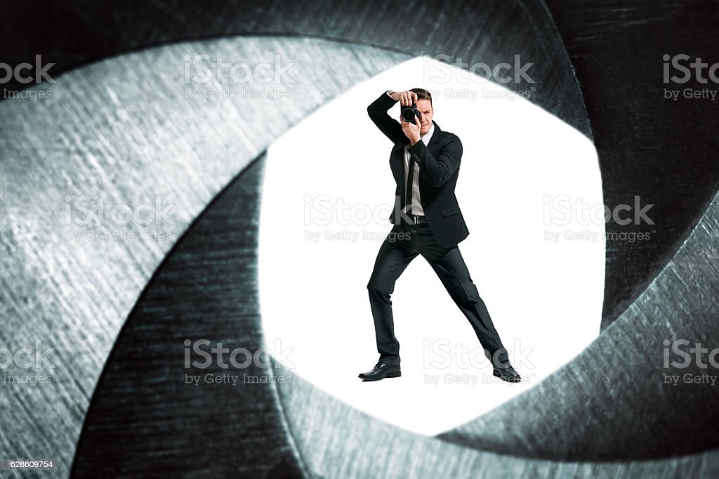 Spy. Photographer. stock photo