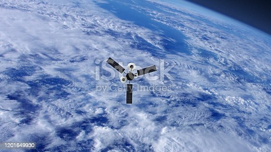 GPS or Weather Satellite orbiting Earth