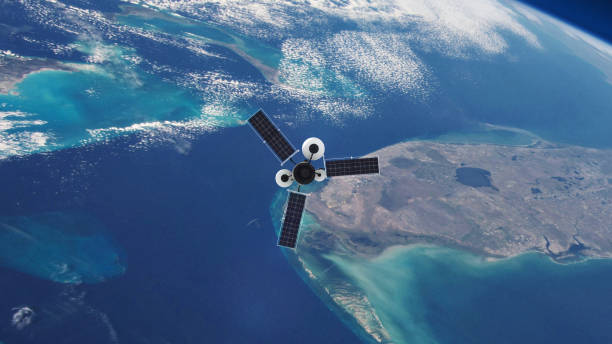 Spy Satellite orbiting Earth. stock photo