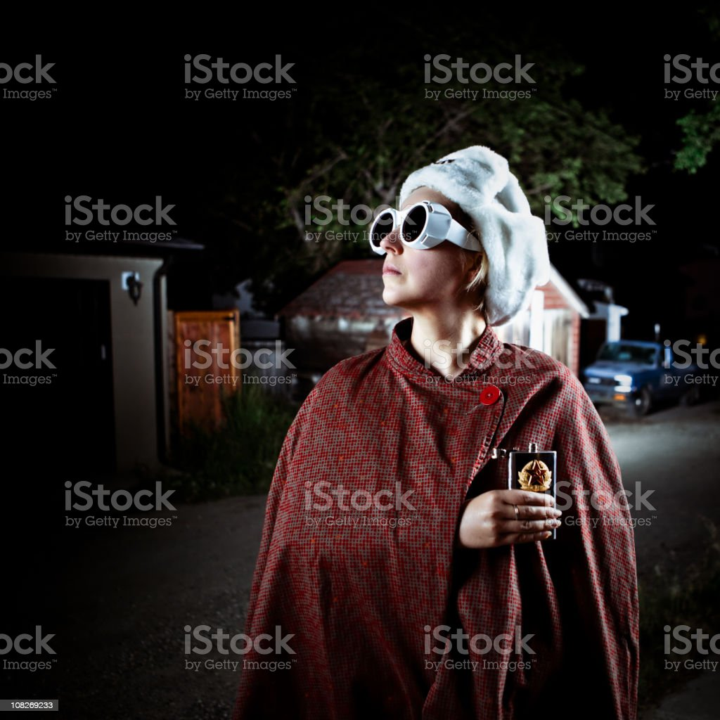 spy undercover on a dark alley royalty-free stock photo