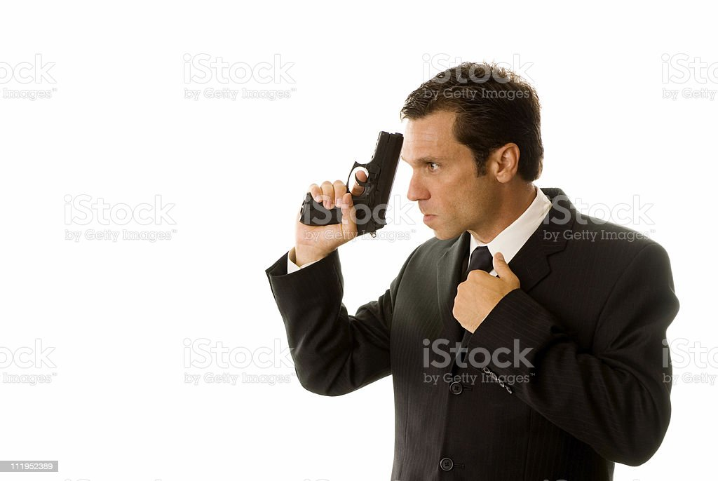 Spy With Gun royalty-free stock photo