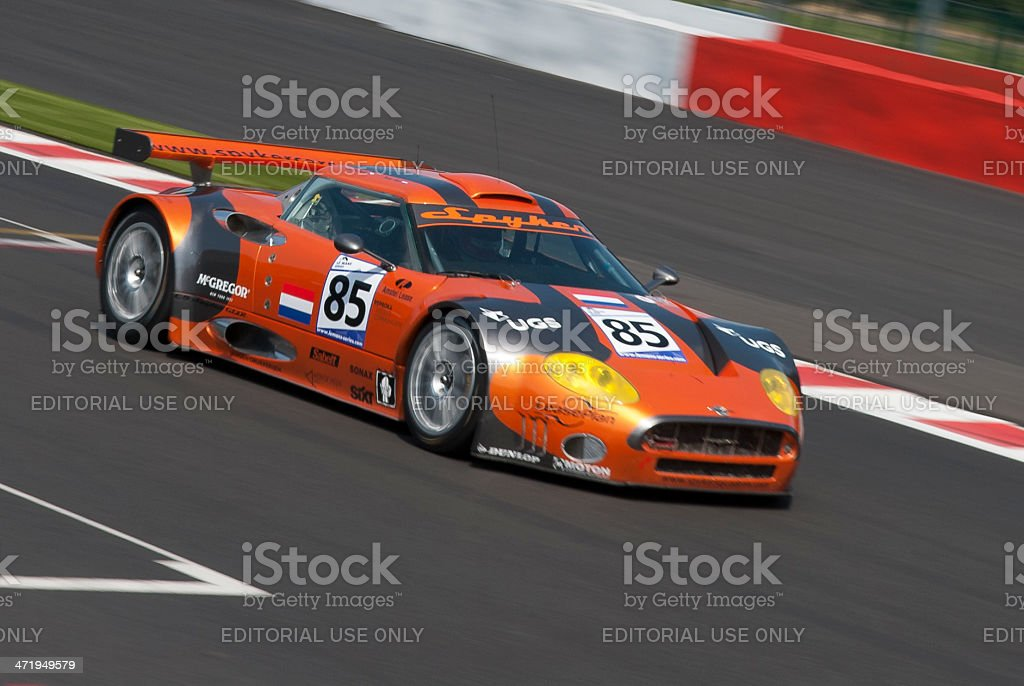 Spyker C8 Spyder GT2-R race car at the racing track stock photo