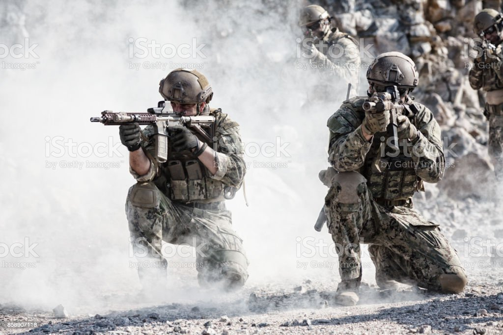 Squad in action stock photo