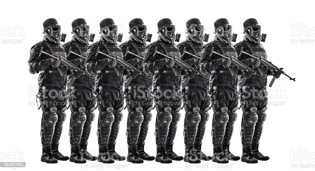 Squad of futuristic nazi soldiers stock photo