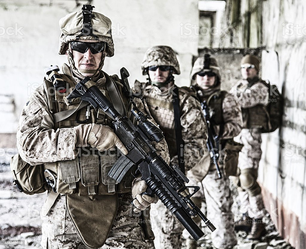 Squad of marines stock photo
