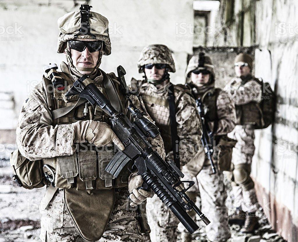 Squad of marines stock photo
