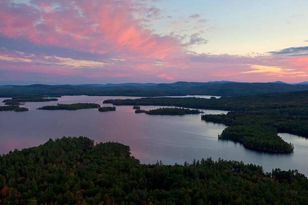 Squam Lake Sunset stock photo