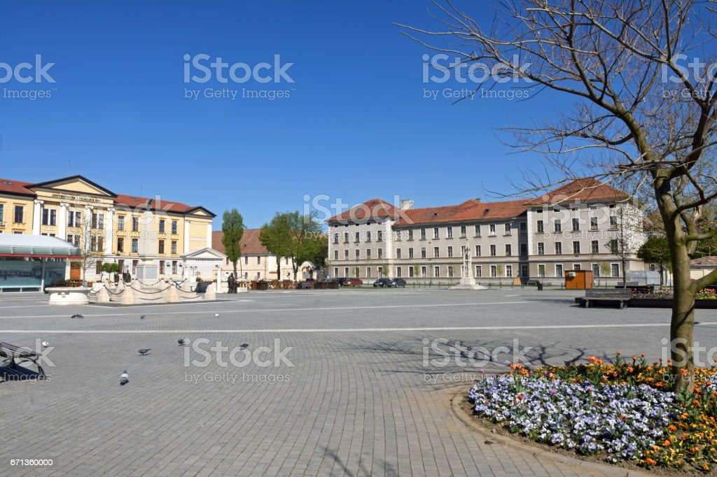 square and University In the historic fortress of  Alba Iulia, Transylvania, Romania stock photo