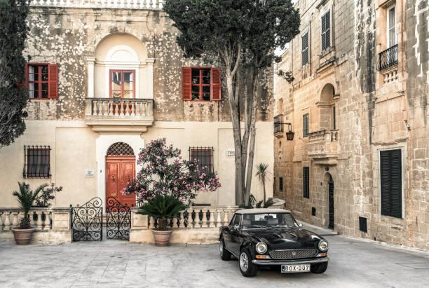Square at historical town Mdina, Malta stock photo