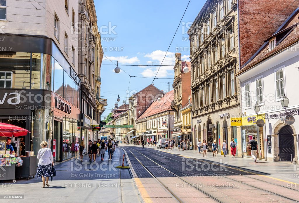 Square Ban Josip Jelacic with tourists on a summer day in Zagreb stock photo