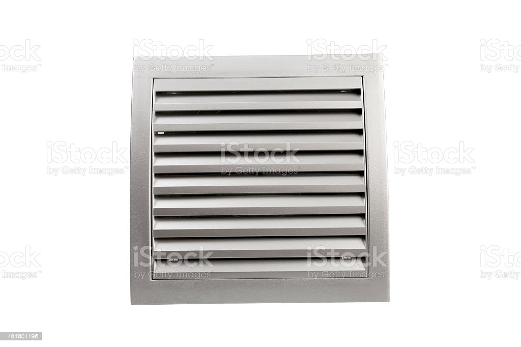 Square bathroom exhaust ventilation fan on white background stock photo