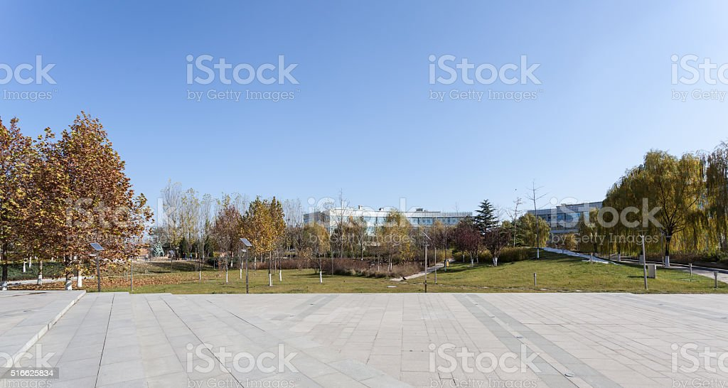 Square beside Modern Office Building stock photo