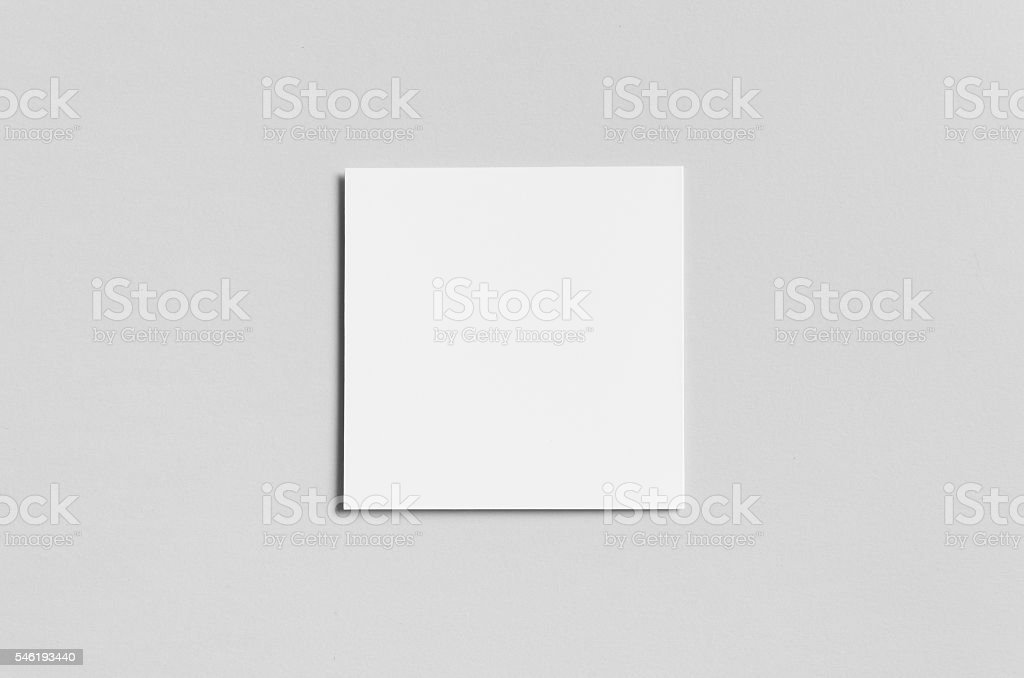 Square Bi-Fold / Half-Fold Brochure Mock-Up - Backside stock photo