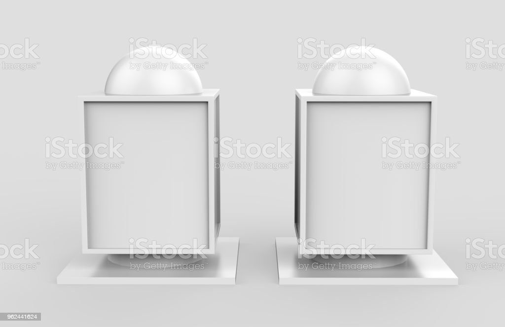 Square billboard lightbox on isolated grey background, 3d illustration stock photo