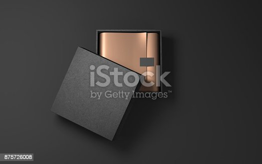 istock Square Black Box with Golden wrapping paper and label sticker 875726008