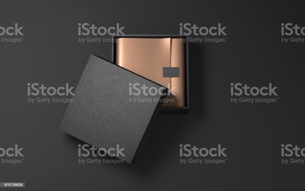Square Black Box with Golden wrapping paper and label sticker stock photo