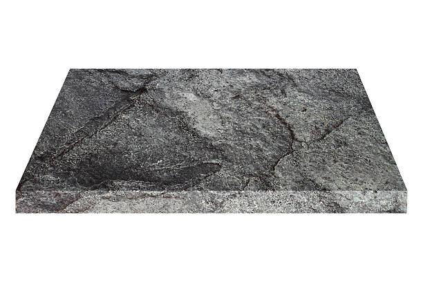 square black stone plate isolated on white - Photo
