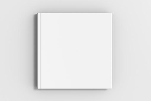 square blank book cover mockup