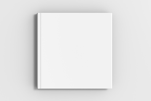 square blank book cover mockup