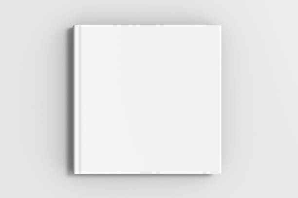square blank book cover mockup stock photo