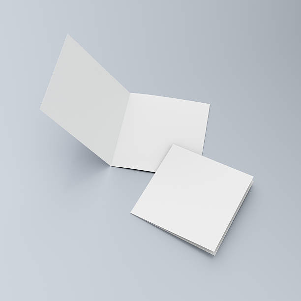 square blank leaflets or brochures on blue - square stock pictures, royalty-free photos & images