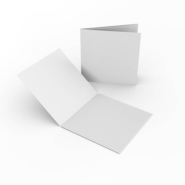 Square blank leaflets or brochures three-wings square blank brochures isolated on light background square composition stock pictures, royalty-free photos & images