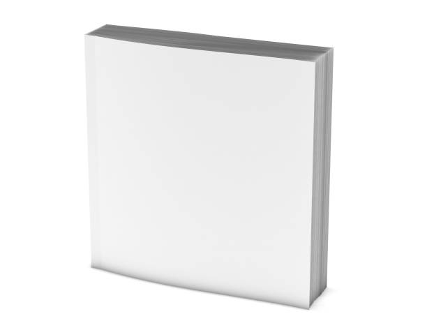 Square booklet, paperback book cover mockup 3d illustration. stock photo